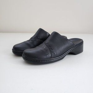 CLARKS Black Leather Low Heel Mules Clogs Slip Ons